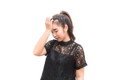 Mujer de Asia que tiene dolor de cabeza Fotos de archivo