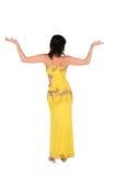 Mujer de Bellydance en el estilo amarillo 2 de Egipto Foto de archivo libre de regalías