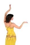 Mujer de Bellydance en el estilo amarillo de Egipto Imagen de archivo