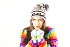 Mujer de congelación del invierno Imágenes de archivo libres de regalías