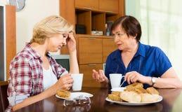 Mujer de dos ancianos con la taza de té que discute algo Fotografía de archivo