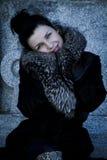 Mujer de Elegant.Beautiful en invierno. Modelo de moda de la belleza Girl en a Fotos de archivo