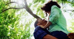 Mujer de elevación del hombre romántico en parque almacen de metraje de vídeo
