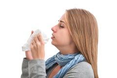 Mujer de estornudo Fotos de archivo libres de regalías