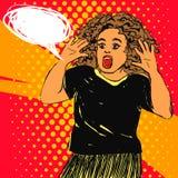 Mujer de griterío asustada con la boca y las manos abiertas para arriba Vector el ejemplo dibujado mano del arte pop con la burbu Fotos de archivo