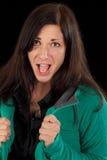 Mujer de griterío emocionada Fotos de archivo libres de regalías