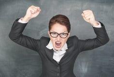 Mujer de griterío enojada Imagen de archivo libre de regalías