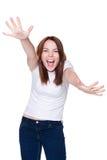 Mujer de griterío feliz Foto de archivo