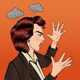Mujer de grito enojada Muchacha furiosa Estallido Art Banner Foto de archivo libre de regalías