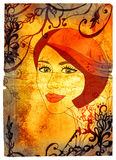 Mujer de Grunge en textura de los remolinos Fotografía de archivo