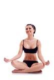Mujer de la aptitud de la yoga del zen en blanco Imagen de archivo libre de regalías