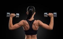 Mujer de la aptitud en los músculos del entrenamiento de la parte posterior con pesas de gimnasia Imagenes de archivo