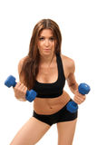 Mujer de la aptitud en pesas de gimnasia del entrenamiento de la dieta Fotos de archivo libres de regalías