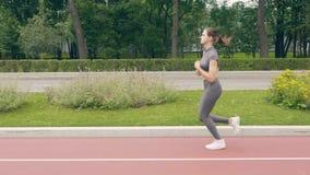 Mujer de la aptitud que corre en parque del verano en la forma de vida del deporte del entrenamiento de la mañana almacen de video
