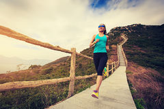 Mujer de la aptitud que corre en rastro de montaña Fotos de archivo