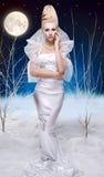 Mujer de la belleza bajo la luna Foto de archivo libre de regalías