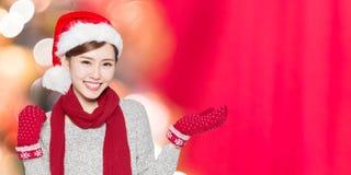Mujer de la belleza con la Navidad Imagen de archivo