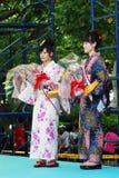 Mujer de la belleza de Srta. Fuji encendido la demostración de la etapa principal Imagenes de archivo