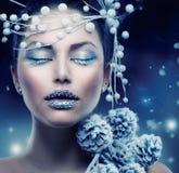 Mujer de la belleza del invierno Fotos de archivo libres de regalías