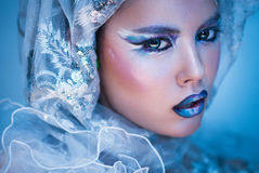 Mujer de la belleza del invierno Maquillaje de la muchacha de la Navidad fotos de archivo