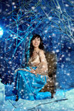Mujer de la belleza en bosque del invierno Foto de archivo