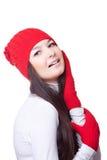 Mujer de la belleza en un casquillo rojo Imagen de archivo libre de regalías