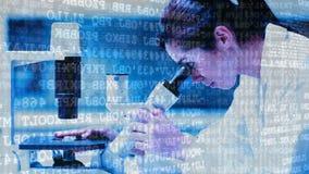 Mujer de la composición de la ciencia que mira en un microscopio combinado con el texto cifrado animado almacen de video