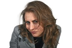 Mujer de la desconfianza que le mira fotografía de archivo libre de regalías