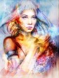 Mujer de la diosa en espacio cósmico Fondo cósmico del espacio Imágenes de archivo libres de regalías