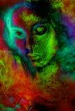 Mujer de la diosa en espacio cósmico Fondo cósmico del espacio Efecto de cristal Imagen de archivo