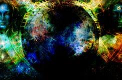 Mujer de la diosa en espacio y zodiaco cósmicos imágenes de archivo libres de regalías