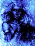 Mujer de la diosa y fondo abstracto Pintura y diseño gráfico Efecto del invierno Foto de archivo