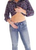 Mujer de la Edad Media que muestra su estómago Fotografía de archivo