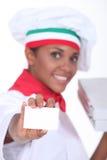 Mujer de la entrega de la pizza Imágenes de archivo libres de regalías