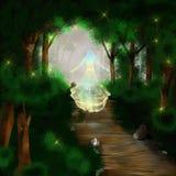 Mujer de la fantasía en bosque imagenes de archivo