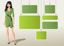 Mujer de la historieta en alineada verde stock de ilustración