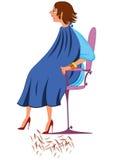 Mujer de la historieta en traje azul con nuevo corte de pelo Fotos de archivo libres de regalías