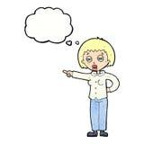 mujer de la historieta que dice apagado con la burbuja del pensamiento Imágenes de archivo libres de regalías