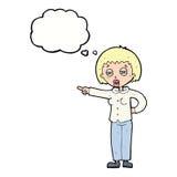 mujer de la historieta que dice apagado con la burbuja del pensamiento Fotografía de archivo libre de regalías