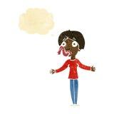 mujer de la historieta que dice mentiras con la burbuja del pensamiento Foto de archivo