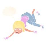 mujer de la historieta que flota con la burbuja del pensamiento Foto de archivo libre de regalías