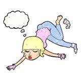 mujer de la historieta que flota con la burbuja del pensamiento Imagen de archivo libre de regalías