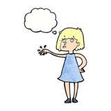 mujer de la historieta que muestra apagado el anillo de compromiso con la burbuja del pensamiento Foto de archivo
