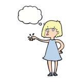 mujer de la historieta que muestra apagado el anillo de compromiso con la burbuja del pensamiento Fotografía de archivo libre de regalías
