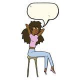 mujer de la historieta que presenta en taburete con la burbuja del discurso Fotografía de archivo