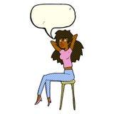 mujer de la historieta que presenta en taburete con la burbuja del discurso Foto de archivo libre de regalías