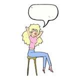 mujer de la historieta que presenta en taburete con la burbuja del discurso Imagen de archivo