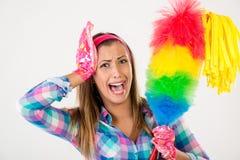 Mujer de la limpieza Foto de archivo libre de regalías