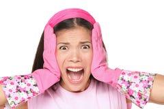 Mujer de la limpieza que grita Imagen de archivo libre de regalías