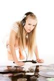 Mujer de la música sobre el fondo blanco Fotos de archivo libres de regalías